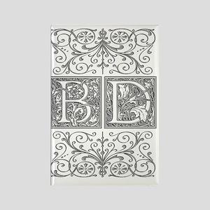 BD, initials, Rectangle Magnet