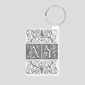 AY, initials, Aluminum Photo Keychain