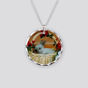 Basket Bunny Necklace Circle Charm