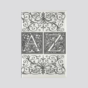 AZ, initials, Rectangle Magnet