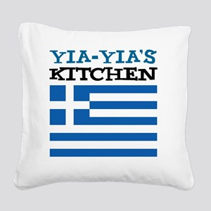 Yia-Yias Kitchen apron Square Canvas Pillow