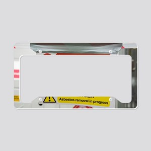 Asbestos removal warning sign License Plate Holder
