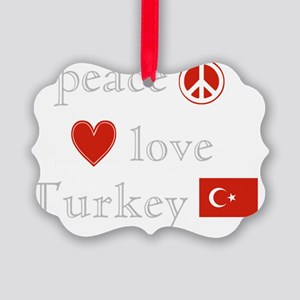 Peace Love Turkey Picture Ornament