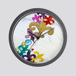 Fleur de lis party Wall Clock