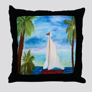 Red Sailboat Throw Pillow