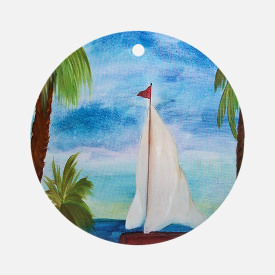 Red Sailboat Round Ornament