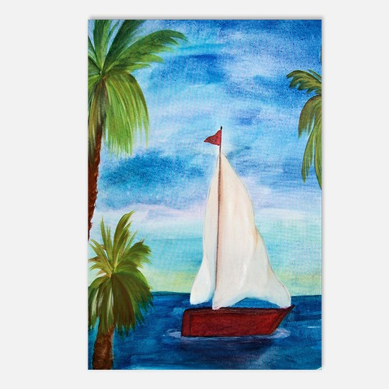 Red Sailboat Postcards (Package of 8)