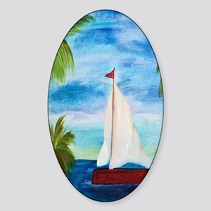 Red Sailboat Sticker (Oval)