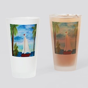 Red Sailboat Drinking Glass
