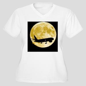 Aeroplane silhoue Women's Plus Size V-Neck T-Shirt
