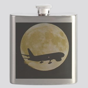Aeroplane silhouetted against a full moon Flask