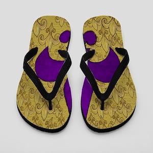 Purple and Gold fleur de lace Flip Flops