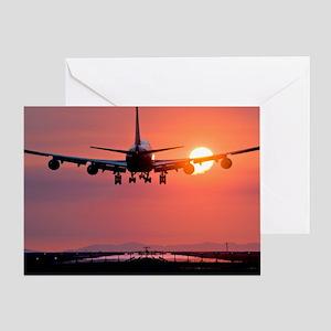 Aeroplane landing at sunset, Canada Greeting Card