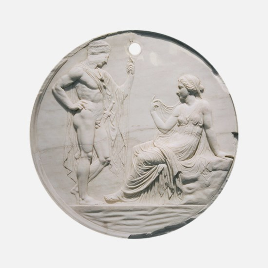 Achilles consulting Pythia, Roman c Round Ornament