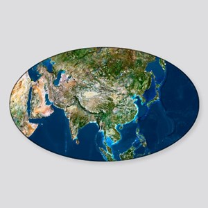 Asia, satellite image Sticker (Oval)