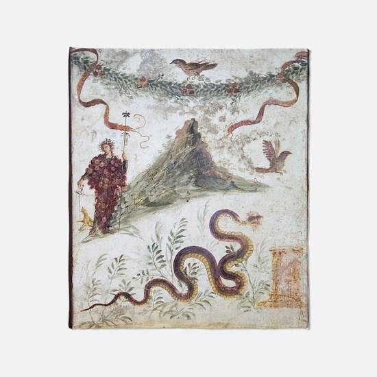 Bacchus and Vesuvius, Roman fresco Throw Blanket