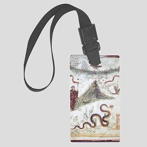 Bacchus and Vesuvius, Roman fres Large Luggage Tag