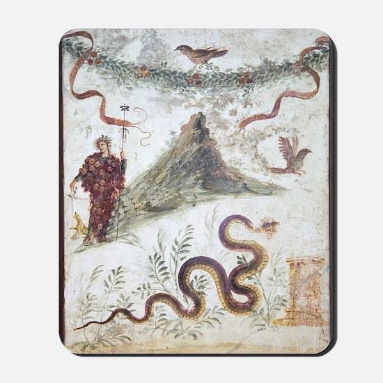 Bacchus and Vesuvius, Roman fresco Mousepad