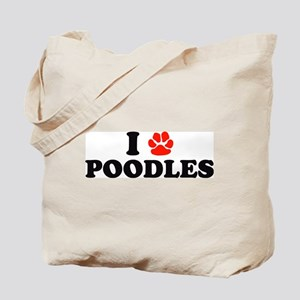 I Heart (Pawprint) Poodles Tote Bag