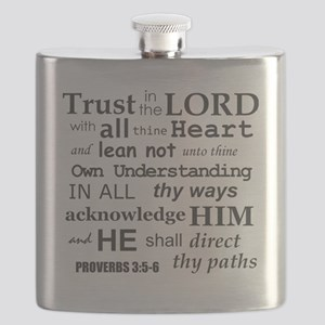 Proverbs 3:5-6 KJV Dark Gray Print Flask