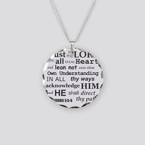 Proverbs 3:5-6 KJV Dark Gray Necklace Circle Charm