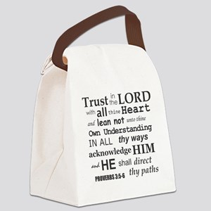 Proverbs 3:5-6 KJV Dark Gray Prin Canvas Lunch Bag
