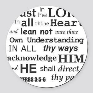 Proverbs 3:5-6 KJV Dark Gray Prin Round Car Magnet