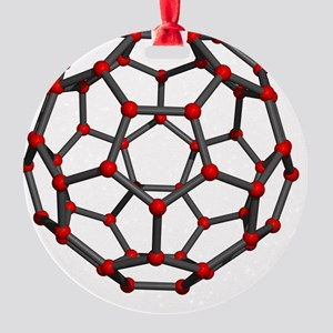 Buckminsterfullerene molecule Round Ornament