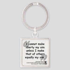 Sartre Liberty Quote Square Keychain