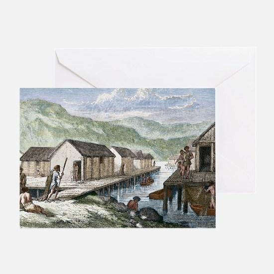 Bronze Age village, 19th century art Greeting Card