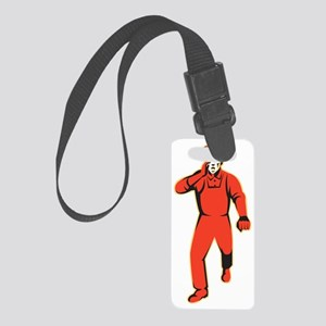worker marching shouting retro Small Luggage Tag