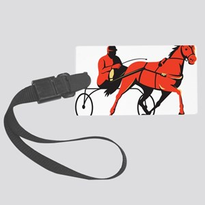 harness horse cart racing retro Large Luggage Tag