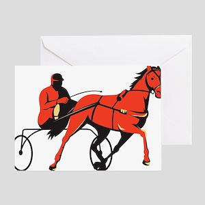 harness horse cart racing retro Greeting Card