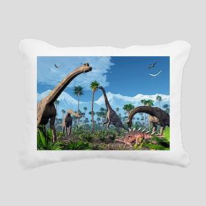 Brachiosaurus dinosaurs, Rectangular Canvas Pillow