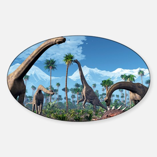 Brachiosaurus dinosaurs, artwork Sticker (Oval)