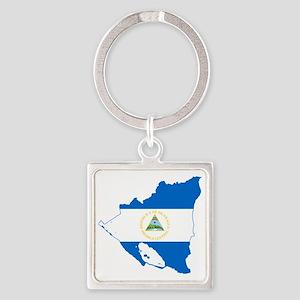 Nicaragua Square Keychain