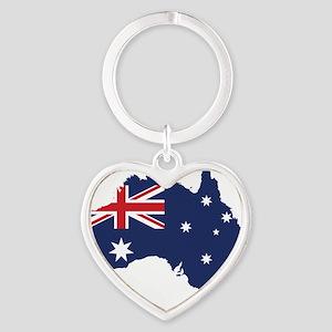 Flag Map of Australia Heart Keychain