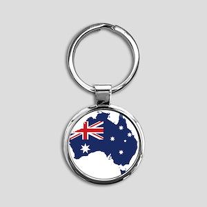 Flag Map of Australia Round Keychain