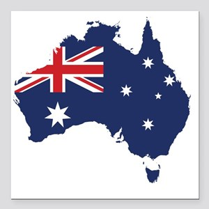 "Flag Map of Australia Square Car Magnet 3"" x 3"""