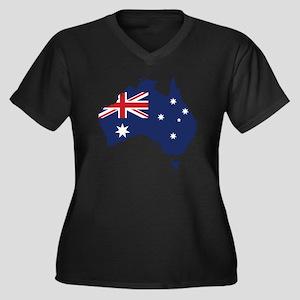 Flag Map of  Women's Plus Size Dark V-Neck T-Shirt