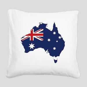 Flag Map of Australia Square Canvas Pillow