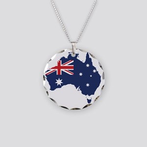 Flag Map of Australia Necklace Circle Charm