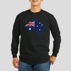 Flag Map of Australia Long Sleeve Dark T-Shirt