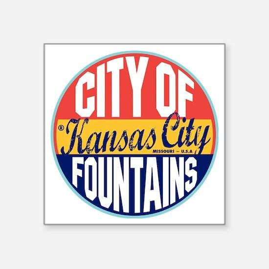"Kansas City Vintage Label W Square Sticker 3"" x 3"""