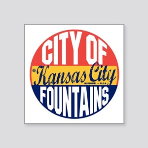 "Kansas City Vintage Square Sticker 3"" x 3"""