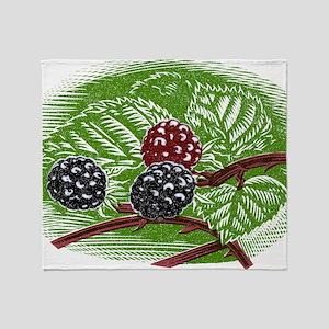 Blackberries, woodcut Throw Blanket