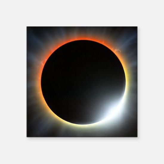 "Annular solar eclipse, artw Square Sticker 3"" x 3"""