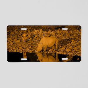 Black rhinoceros and lion Aluminum License Plate
