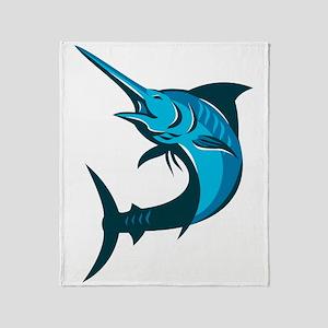 blue marlin fish jumping retro Throw Blanket