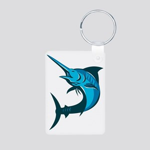 blue marlin fish jumping r Aluminum Photo Keychain